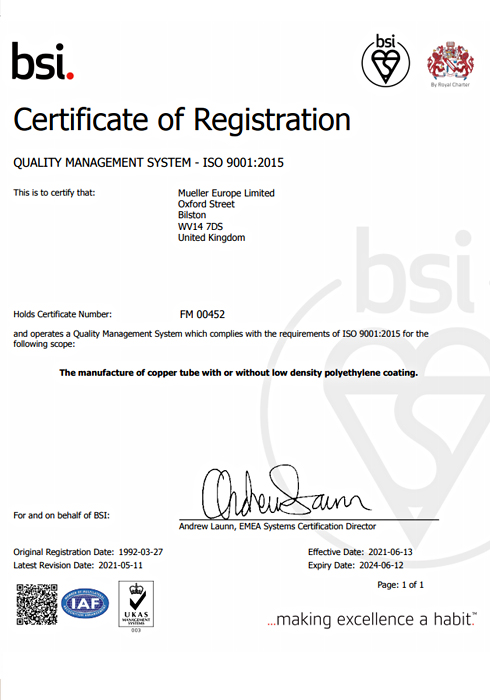 Our ISO 14001:2015 certificate